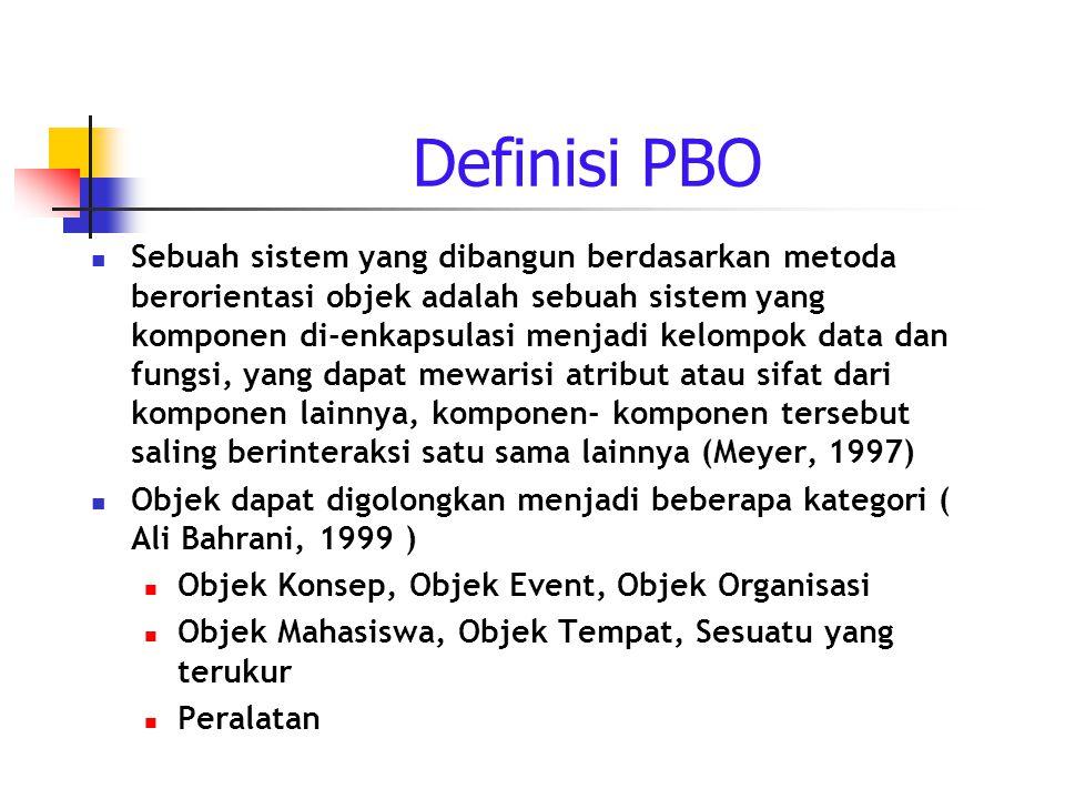 Definisi PBO Sebuah sistem yang dibangun berdasarkan metoda berorientasi objek adalah sebuah sistem yang komponen di-enkapsulasi menjadi kelompok data dan fungsi, yang dapat mewarisi atribut atau sifat dari komponen lainnya, komponen- komponen tersebut saling berinteraksi satu sama lainnya (Meyer, 1997) Objek dapat digolongkan menjadi beberapa kategori ( Ali Bahrani, 1999 ) Objek Konsep, Objek Event, Objek Organisasi Objek Mahasiswa, Objek Tempat, Sesuatu yang terukur Peralatan
