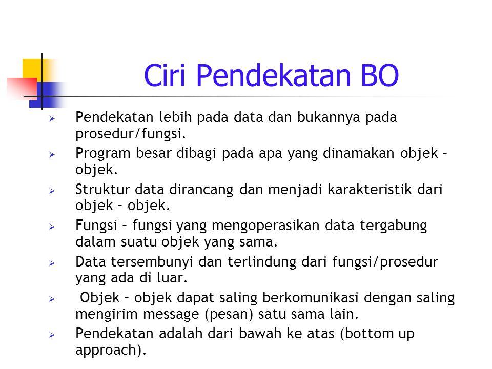 Ciri Pendekatan BO  Pendekatan lebih pada data dan bukannya pada prosedur/fungsi.