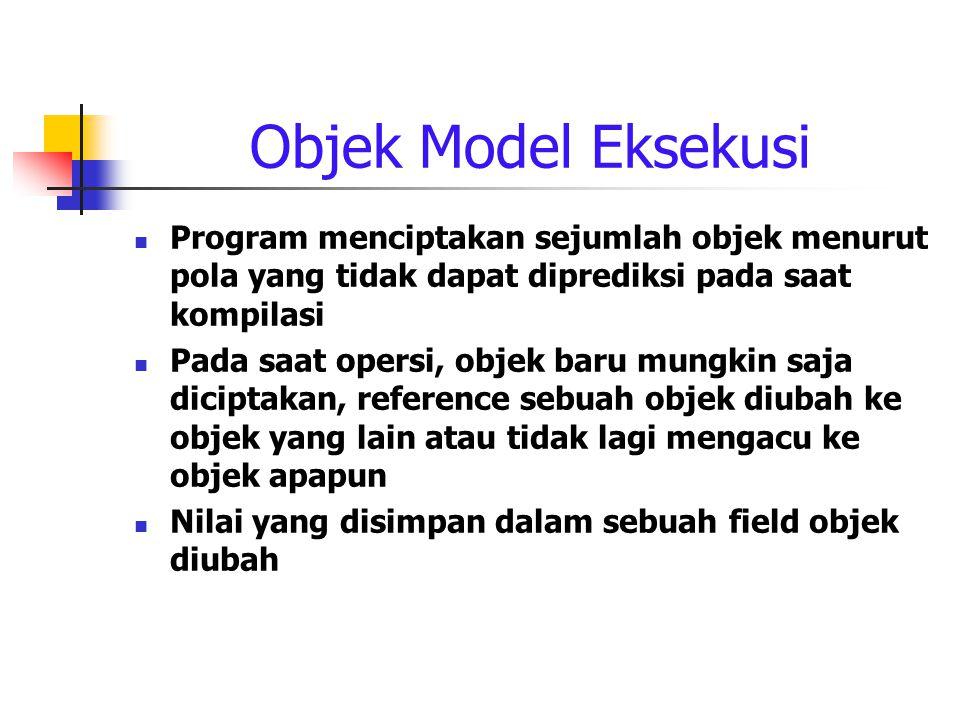 Objek Model Eksekusi Program menciptakan sejumlah objek menurut pola yang tidak dapat diprediksi pada saat kompilasi Pada saat opersi, objek baru mungkin saja diciptakan, reference sebuah objek diubah ke objek yang lain atau tidak lagi mengacu ke objek apapun Nilai yang disimpan dalam sebuah field objek diubah