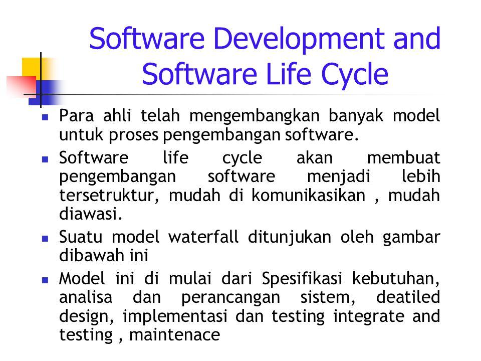Software Development and Software Life Cycle Para ahli telah mengembangkan banyak model untuk proses pengembangan software.