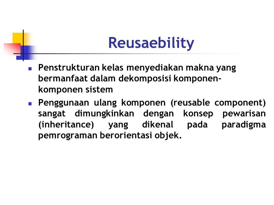 Reusaebility Penstrukturan kelas menyediakan makna yang bermanfaat dalam dekomposisi komponen- komponen sistem Penggunaan ulang komponen (reusable component) sangat dimungkinkan dengan konsep pewarisan (inheritance) yang dikenal pada paradigma pemrograman berorientasi objek.