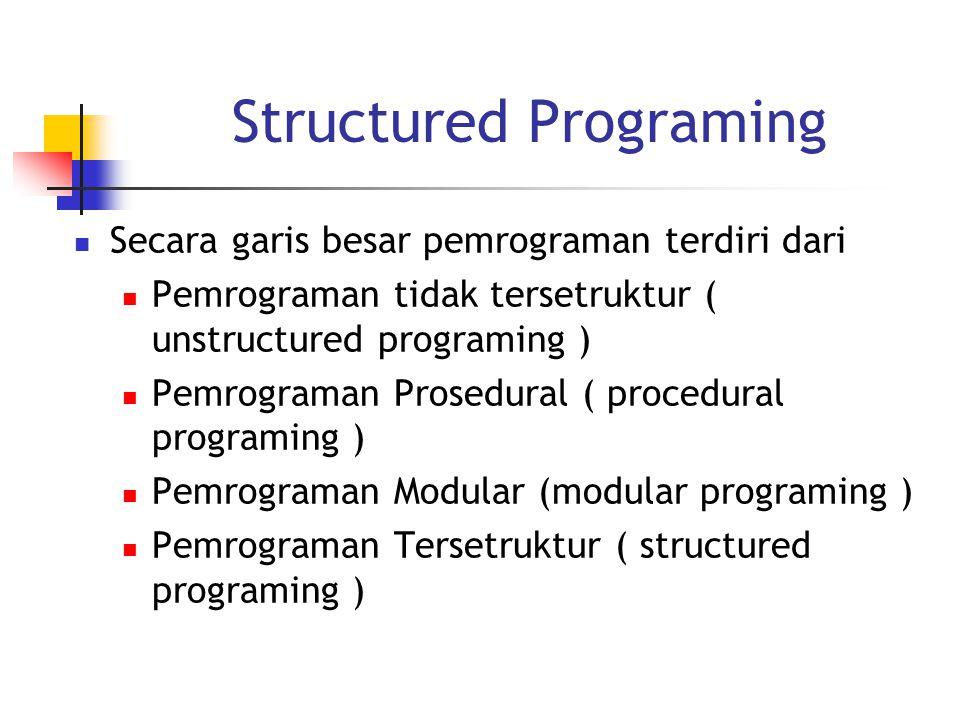 Structured Programing Secara garis besar pemrograman terdiri dari Pemrograman tidak tersetruktur ( unstructured programing ) Pemrograman Prosedural ( procedural programing ) Pemrograman Modular (modular programing ) Pemrograman Tersetruktur ( structured programing )