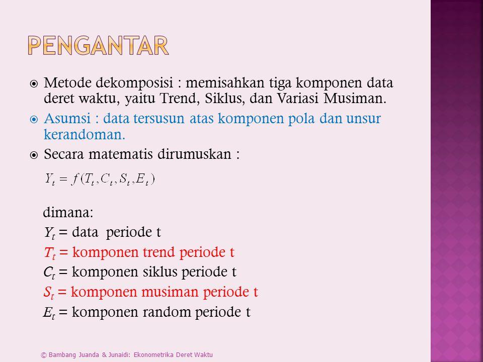  Metode dekomposisi : memisahkan tiga komponen data deret waktu, yaitu Trend, Siklus, dan Variasi Musiman.  Asumsi : data tersusun atas komponen pol