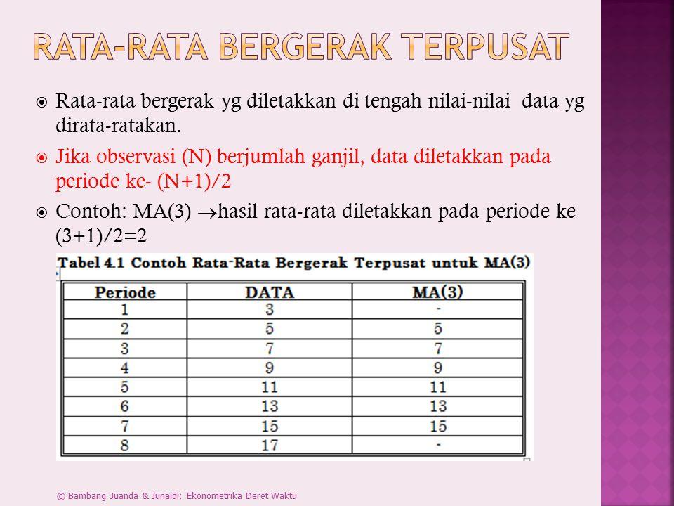  Jika observasi (N) berjumlah genap, maka gunakan rata-rata bergerak ganda 2 x MA(N).