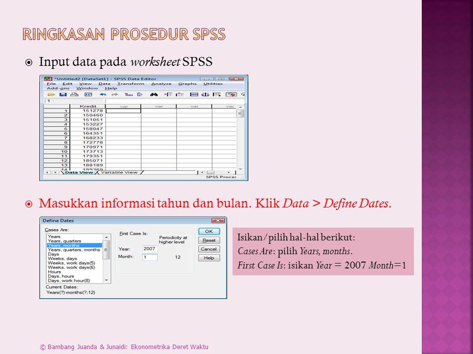  Input data pada worksheet SPSS  Masukkan informasi tahun dan bulan. Klik Data > Define Dates. Isikan/pilih hal-hal berikut: Cases Are: pilih Years,