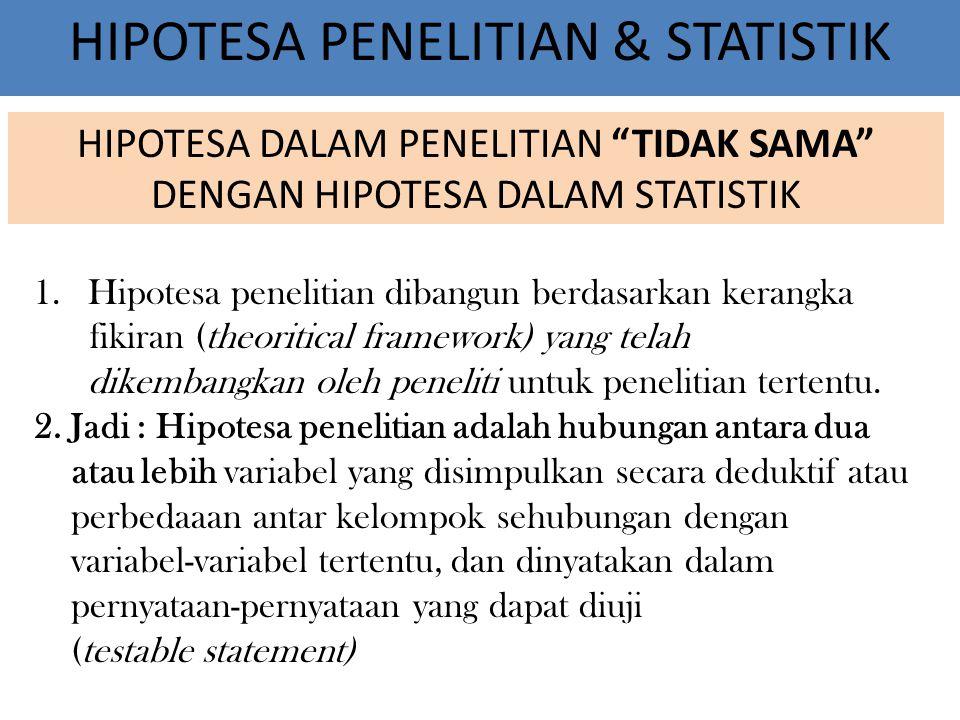 HIPOTESA PENELITIAN & STATISTIK 1.Hipotesa penelitian dibangun berdasarkan kerangka fikiran (theoritical framework) yang telah dikembangkan oleh peneliti untuk penelitian tertentu.