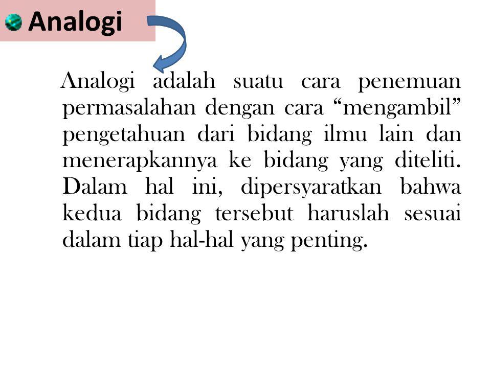 Analogi Analogi adalah suatu cara penemuan permasalahan dengan cara mengambil pengetahuan dari bidang ilmu lain dan menerapkannya ke bidang yang diteliti.