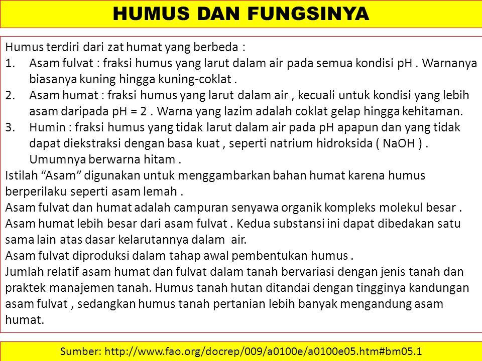 Humus terdiri dari zat humat yang berbeda : 1.Asam fulvat : fraksi humus yang larut dalam air pada semua kondisi pH.