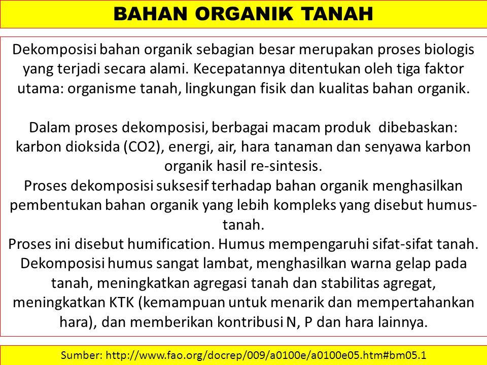 BAHAN ORGANIK TANAH Dekomposisi bahan organik sebagian besar merupakan proses biologis yang terjadi secara alami.