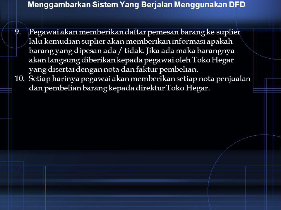 Menggambarkan Sistem Yang Berjalan Menggunakan DFD 9.Pegawai akan memberikan daftar pemesan barang ke suplier lalu kemudian suplier akan memberikan in