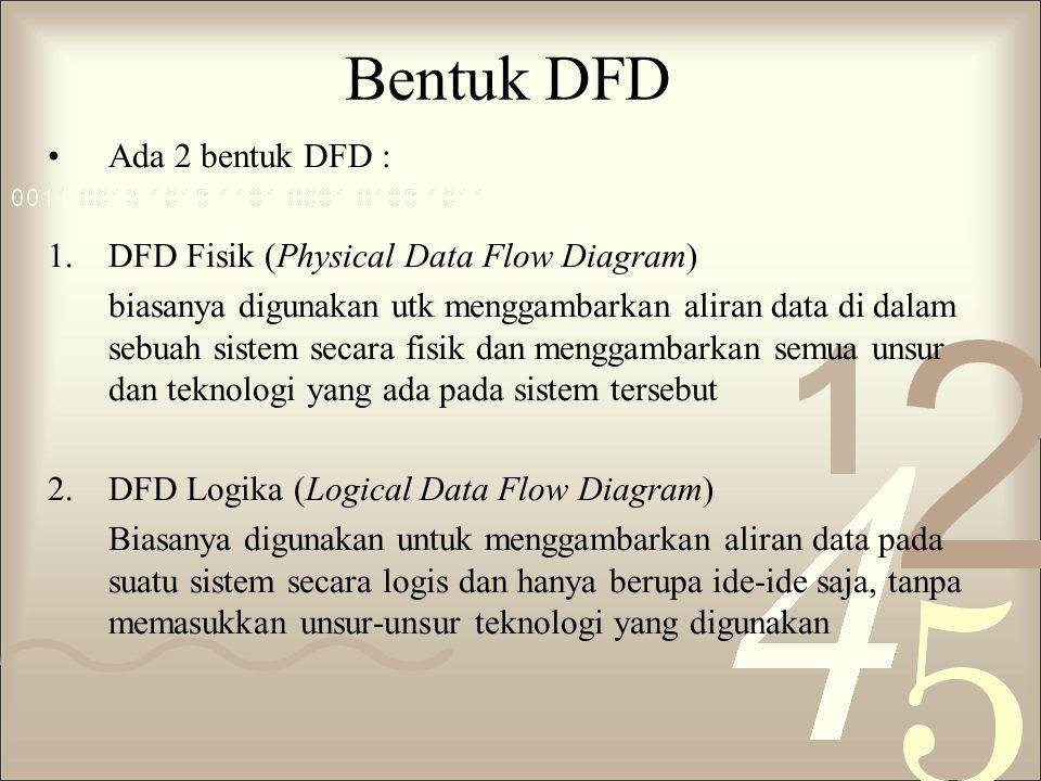 DFD Logika Tidak menekankan pada bagaimana sistem diterapkan, tetapi hanya pada logika dari kebutuhan-kebutuhan sistem, yaitu proses- proses apa yg dibutuhkan.