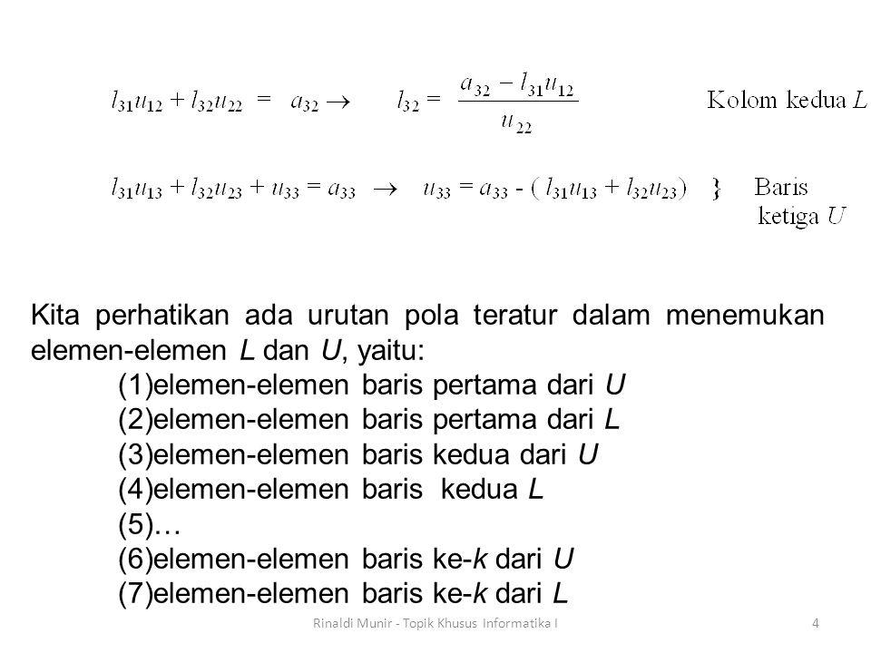 Jika pivoting dilakukan sejumlah p kali, maka  dapat ditulis sebagai:  = (-1) p  bernilai 1 untuk p genap dan -1 untuk p ganjil.