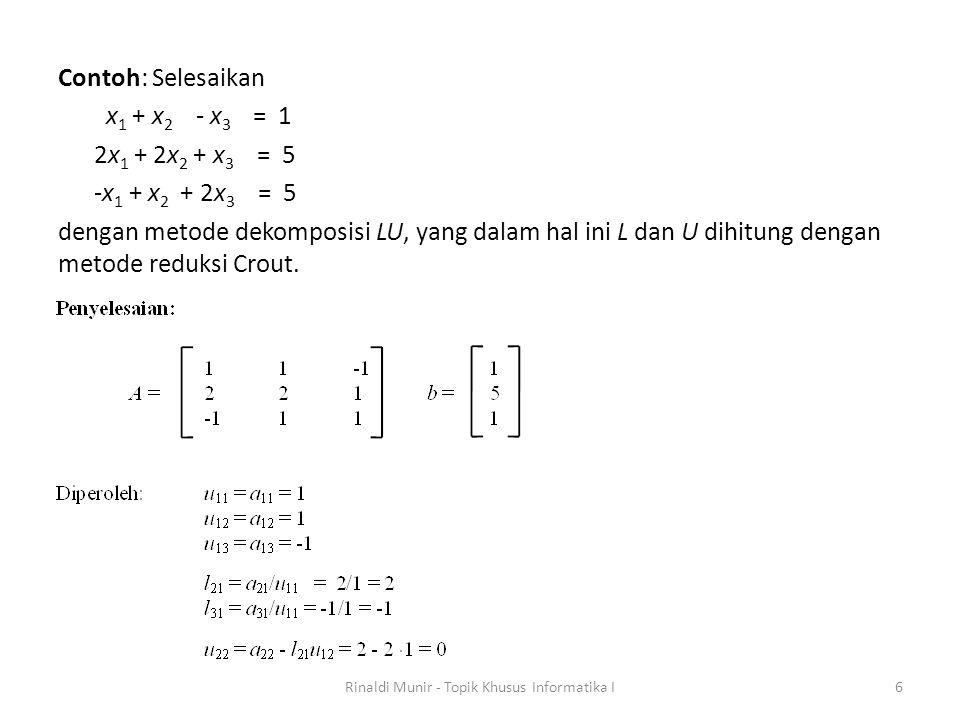 Contoh: Hitung determinan matriks berikut Rinaldi Munir - Topik Khusus Informatika I17
