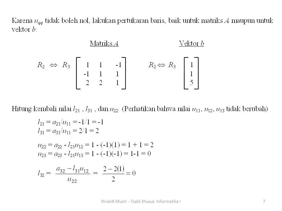 Metode Lelaran Untuk Menyelesaikan SPL Metode eliminasi Gauss melibatkan banyak galat pembulatan.