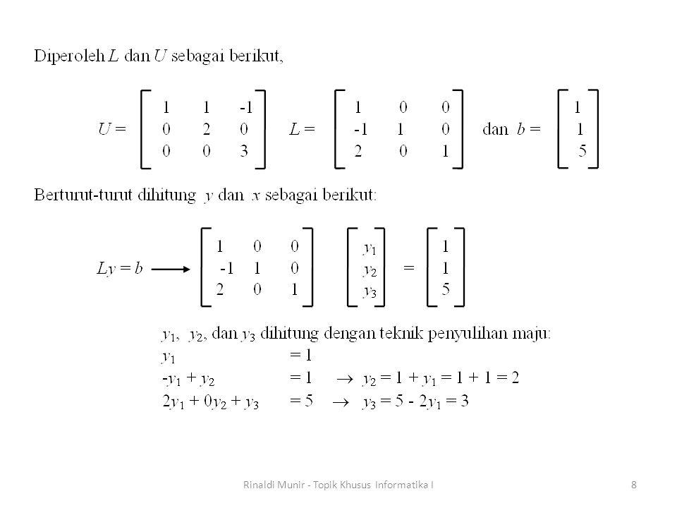 Jika metode eliminasi Gauss dan variasi-variasinya serta metode dekomposisi LU dinamakan metode langsung (direct) -karena solusi SPL diperoleh tanpa lelaran- maka metode lelaran dinamakan metode tidak langsung (indirect) atau metode iteratif.