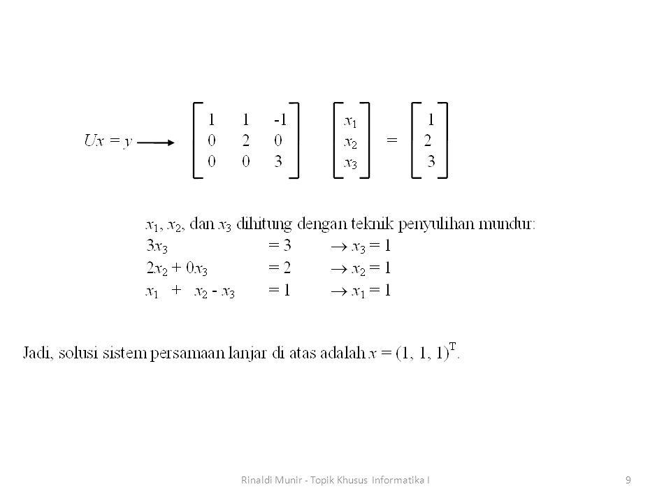 Jika diamati elemen segitiga bawah pada matriks U semuanya bernilai nol, sehingga ruang yang tidak terpakai itu dapat dipakai untuk menyimpan elemen matriks L.