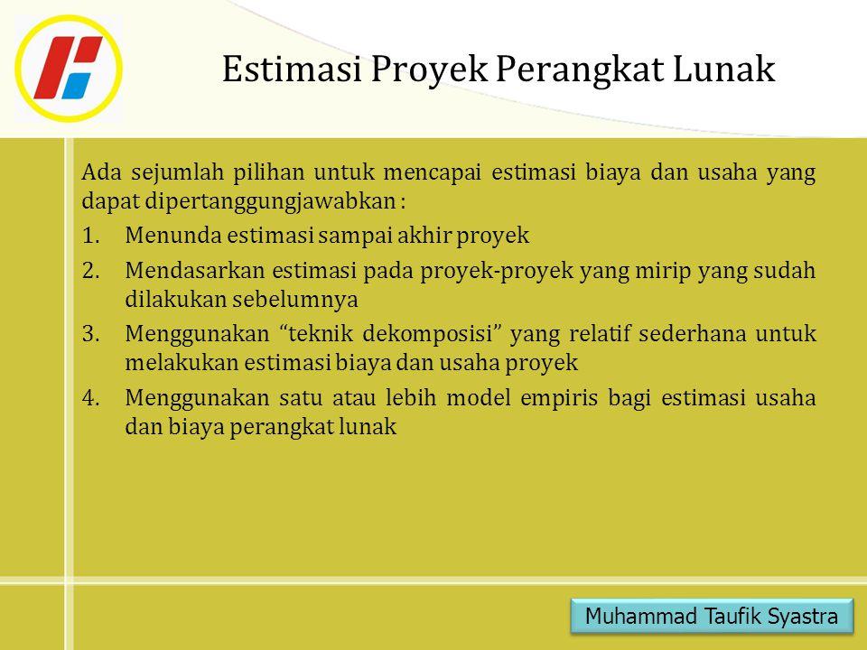 Estimasi Proyek Perangkat Lunak Ada sejumlah pilihan untuk mencapai estimasi biaya dan usaha yang dapat dipertanggungjawabkan : 1.Menunda estimasi sam