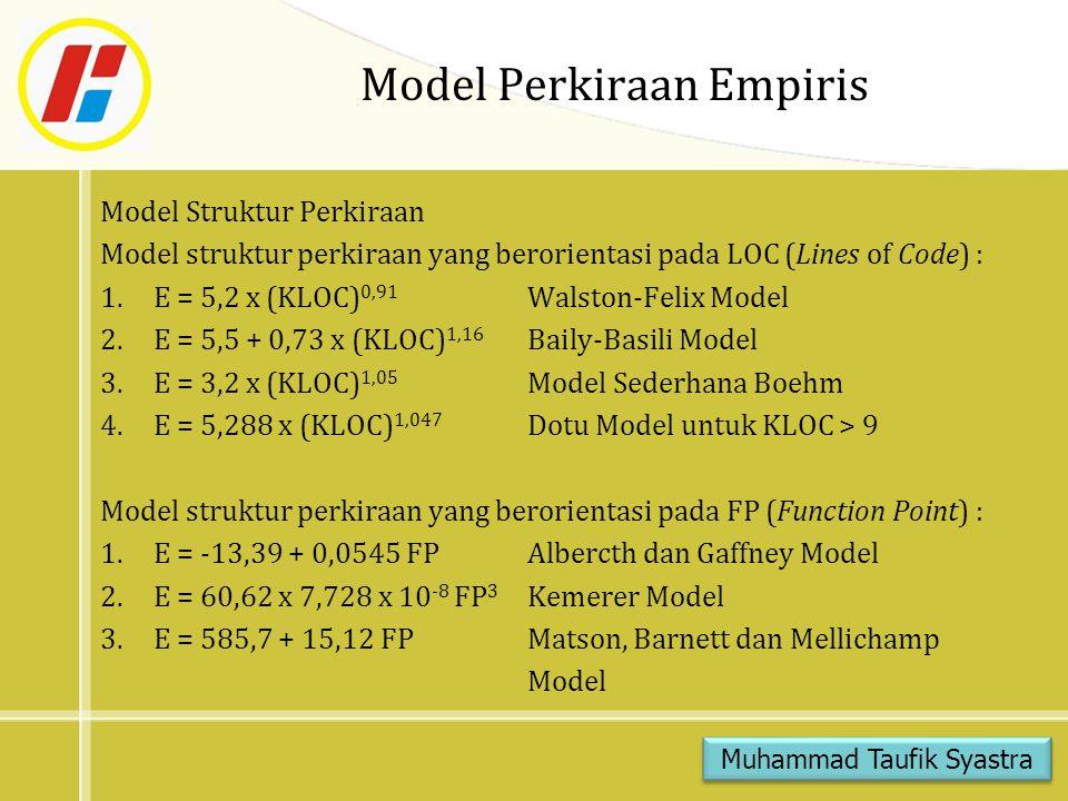 Model Perkiraan Empiris Model Struktur Perkiraan Model struktur perkiraan yang berorientasi pada LOC (Lines of Code) : 1.E = 5,2 x (KLOC) 0,91 Walston