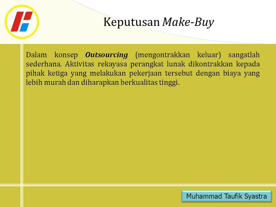 Keputusan Make-Buy Dalam konsep Outsourcing (mengontrakkan keluar) sangatlah sederhana. Aktivitas rekayasa perangkat lunak dikontrakkan kepada pihak k