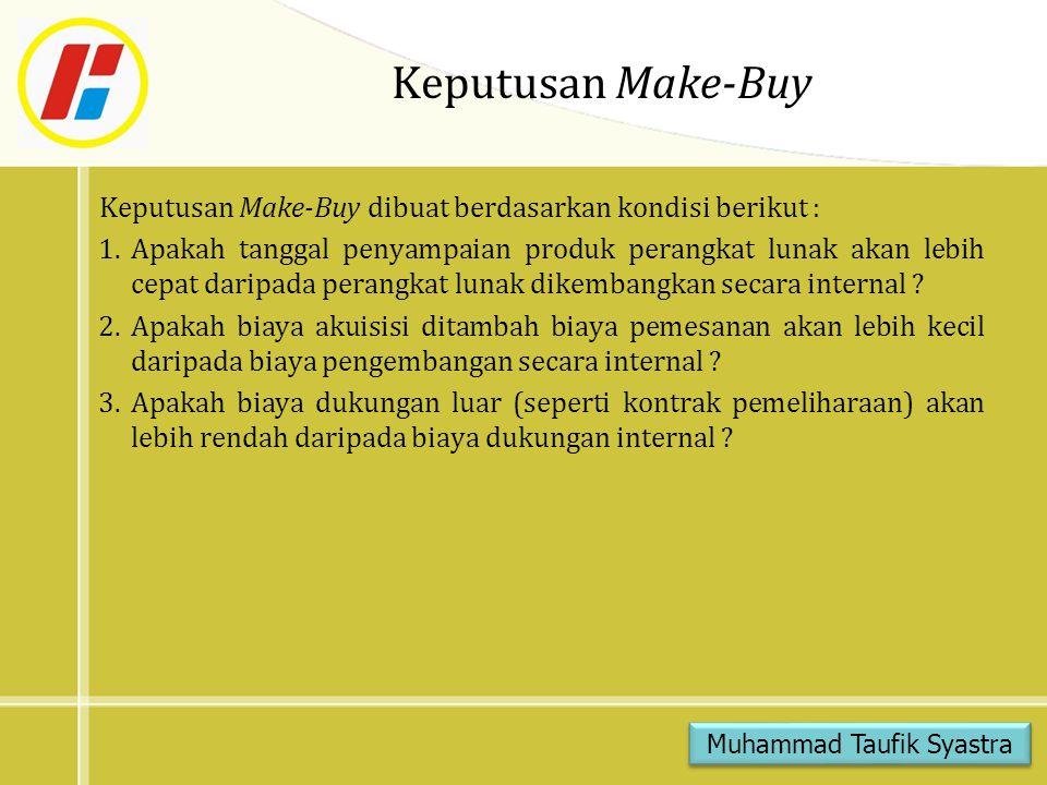 Keputusan Make-Buy Keputusan Make-Buy dibuat berdasarkan kondisi berikut : 1.Apakah tanggal penyampaian produk perangkat lunak akan lebih cepat daripa