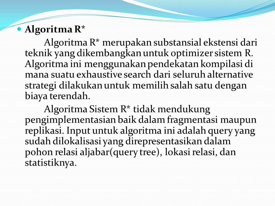 Algoritma R* Algoritma R* merupakan substansial ekstensi dari teknik yang dikembangkan untuk optimizer sistem R. Algoritma ini menggunakan pendekatan