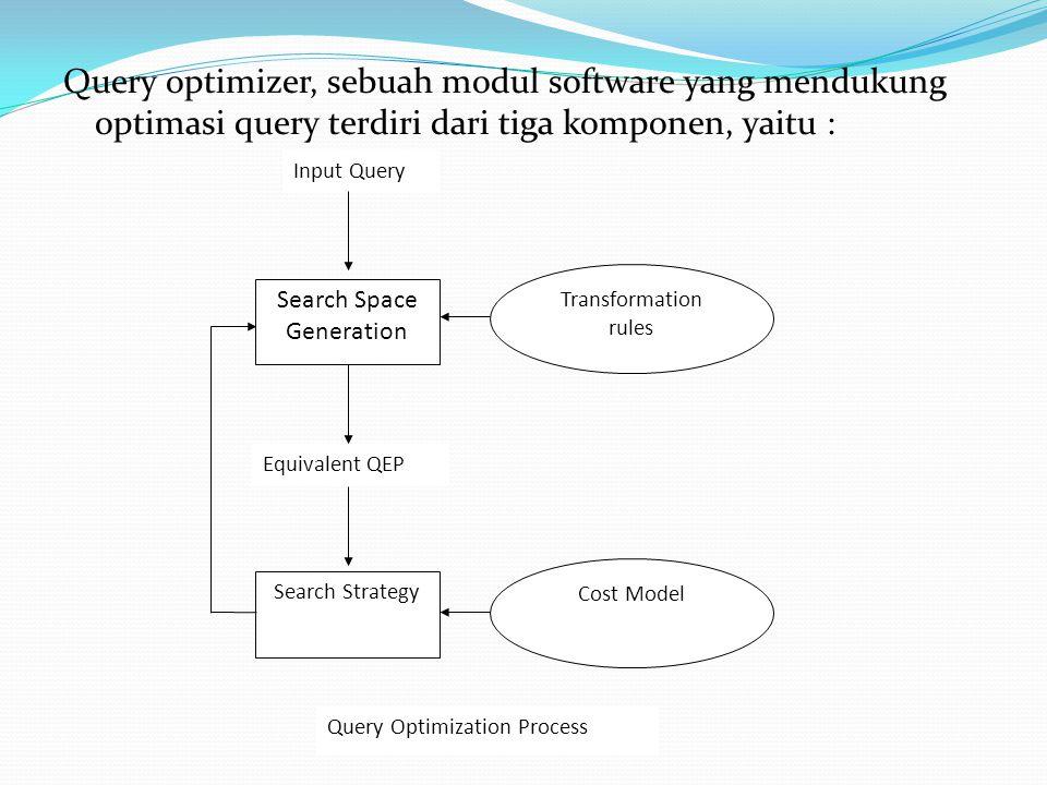 Query optimizer, sebuah modul software yang mendukung optimasi query terdiri dari tiga komponen, yaitu : Input Query Search Space Generation Search St