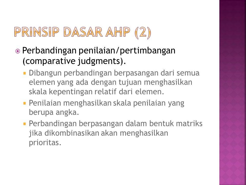 Perbandingan penilaian/pertimbangan (comparative judgments).