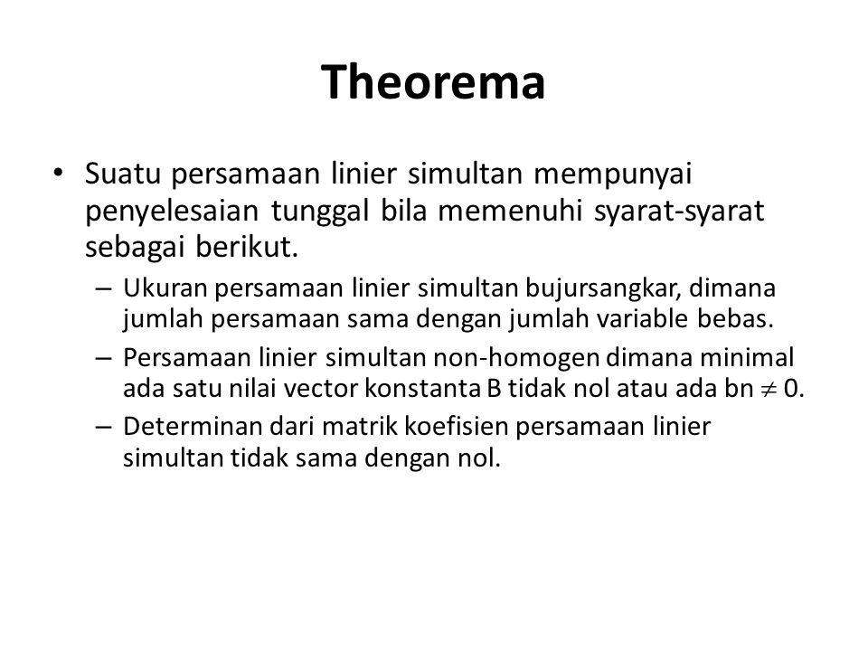 Theorema Suatu persamaan linier simultan mempunyai penyelesaian tunggal bila memenuhi syarat-syarat sebagai berikut. – Ukuran persamaan linier simulta