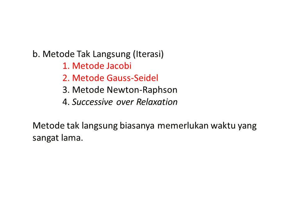 b. Metode Tak Langsung (Iterasi) 1. Metode Jacobi 2. Metode Gauss-Seidel 3. Metode Newton-Raphson 4. Successive over Relaxation Metode tak langsung bi