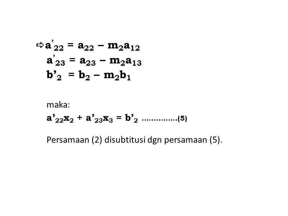  a ' 22 = a 22 – m 2 a 12 a ' 23 = a 23 – m 2 a 13 b' 2 = b 2 – m 2 b 1 maka: a' 22 x 2 + a' 23 x 3 = b' 2 ……………(5) Persamaan (2) disubtitusi dgn per