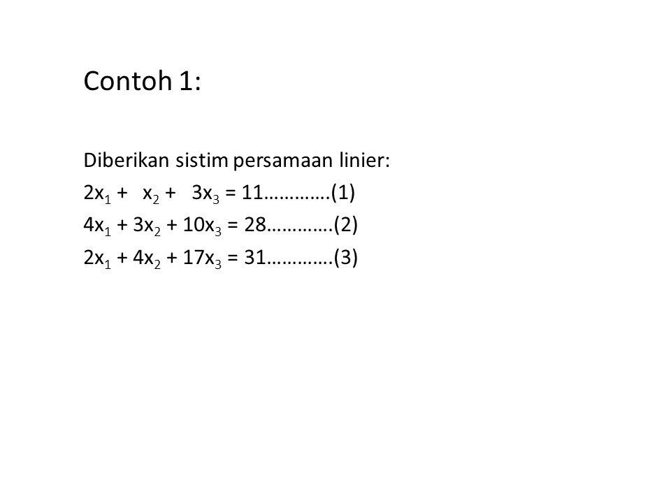 Contoh 1: Diberikan sistim persamaan linier: 2x 1 + x 2 + 3x 3 = 11………….(1) 4x 1 + 3x 2 + 10x 3 = 28………….(2) 2x 1 + 4x 2 + 17x 3 = 31………….(3) Contoh 1: Diberikan sistim persamaan linier: 2x 1 + x 2 + 3x 3 = 11………….(1) 4x 1 + 3x 2 + 10x 3 = 28………….(2) 2x 1 + 4x 2 + 17x 3 = 31………….(3)