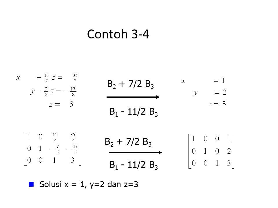 Contoh 3-4 Solusi x = 1, y=2 dan z=3 B 2 + 7/2 B 3 B 1 - 11/2 B 3 B 2 + 7/2 B 3 B 1 - 11/2 B 3