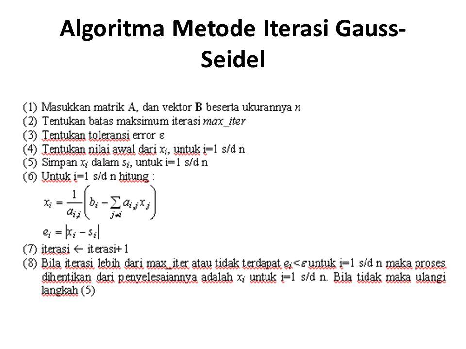 Algoritma Metode Iterasi Gauss- Seidel