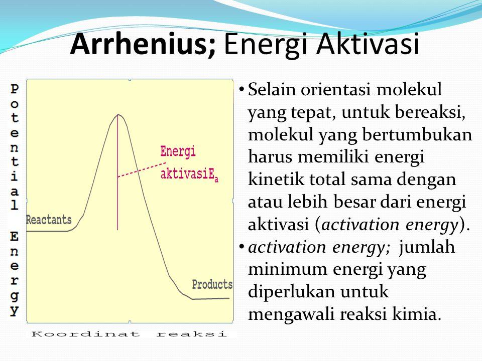Selain orientasi molekul yang tepat, untuk bereaksi, molekul yang bertumbukan harus memiliki energi kinetik total sama dengan atau lebih besar dari en