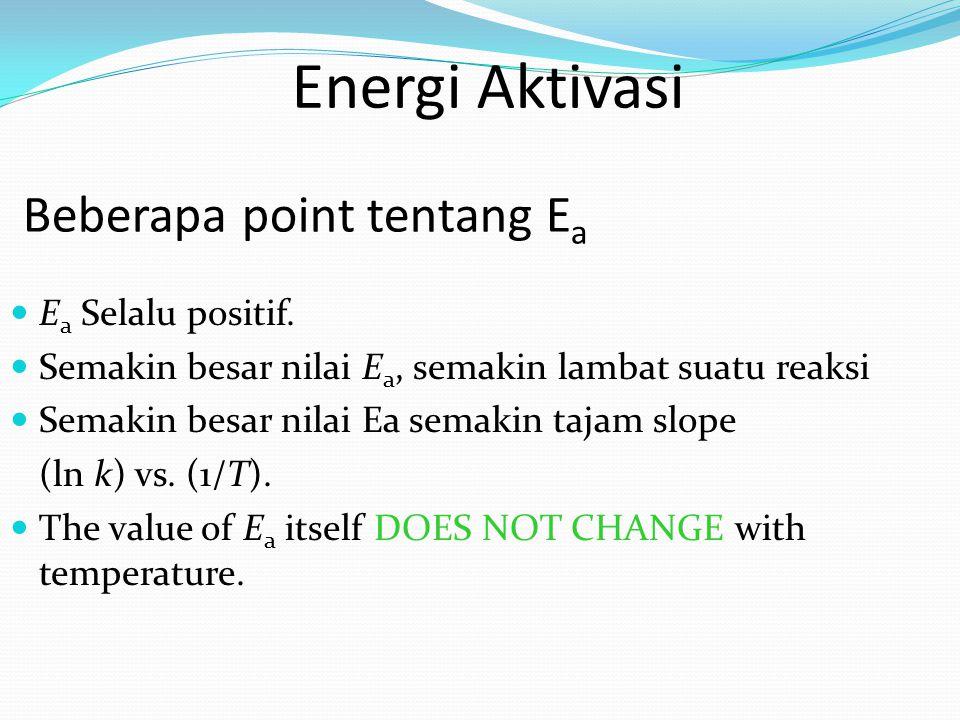 E a Selalu positif. Semakin besar nilai E a, semakin lambat suatu reaksi Semakin besar nilai Ea semakin tajam slope (ln k) vs. (1/T). The value of E a