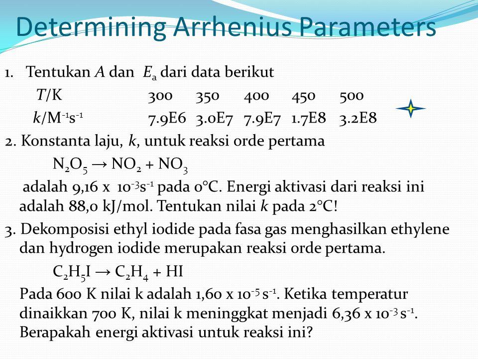 1. Tentukan A dan E a dari data berikut T/K300350400450500 k/M -1 s -1 7.9E63.0E77.9E71.7E83.2E8 2. Konstanta laju, k, untuk reaksi orde pertama N 2 O