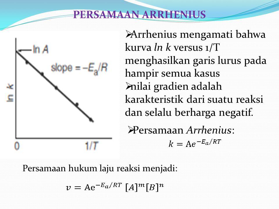  Arrhenius mengamati bahwa kurva ln k versus 1/T menghasilkan garis lurus pada hampir semua kasus  nilai gradien adalah karakteristik dari suatu rea