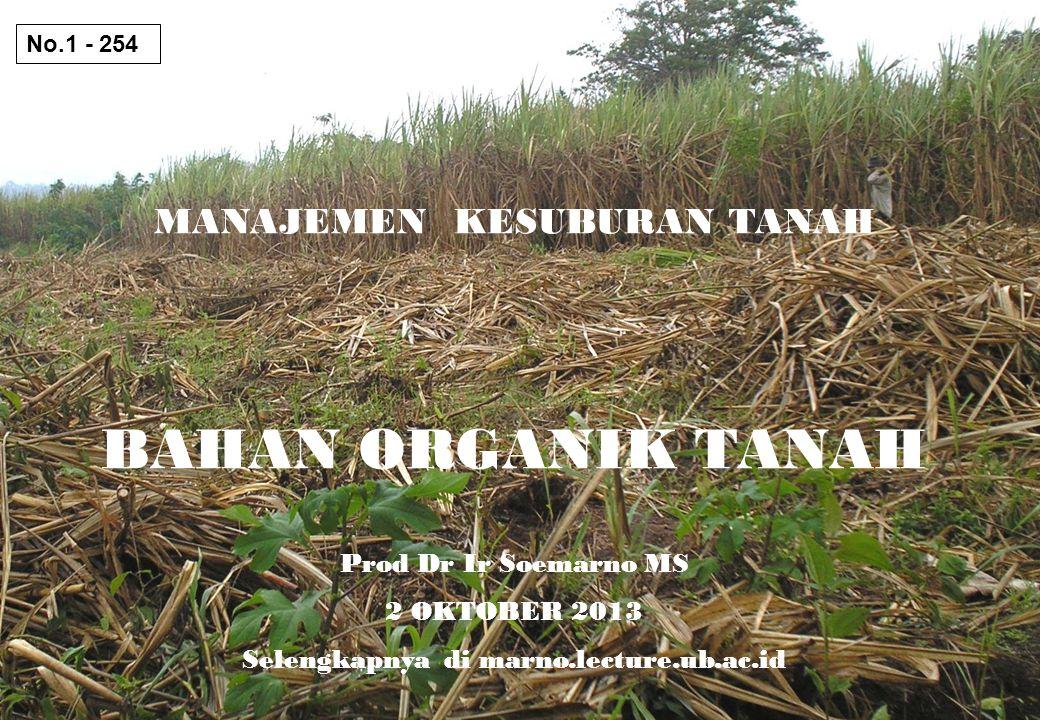 MANAJEMEN KESUBURAN TANAH BAHAN ORGANIK TANAH Prod Dr Ir Soemarno MS 2 OKTOBER 2013 Selengkapnya di marno.lecture.ub.ac.id No.1 - 254