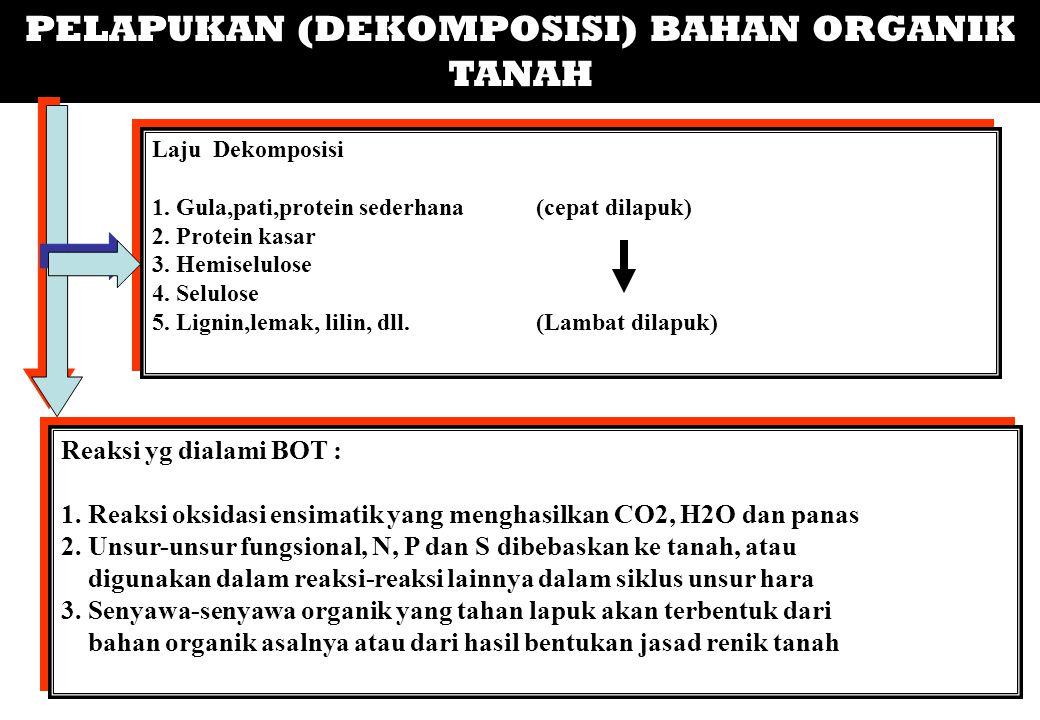 PELAPUKAN (DEKOMPOSISI) BAHAN ORGANIK TANAH Laju Dekomposisi 1. Gula,pati,protein sederhana(cepat dilapuk) 2. Protein kasar 3. Hemiselulose 4. Selulos