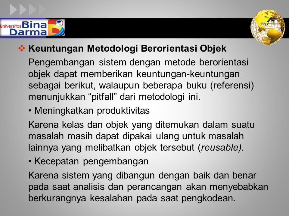 LOGO  Keuntungan Metodologi Berorientasi Objek Pengembangan sistem dengan metode berorientasi objek dapat memberikan keuntungan-keuntungan sebagai berikut, walaupun beberapa buku (referensi) menunjukkan pitfall dari metodologi ini.