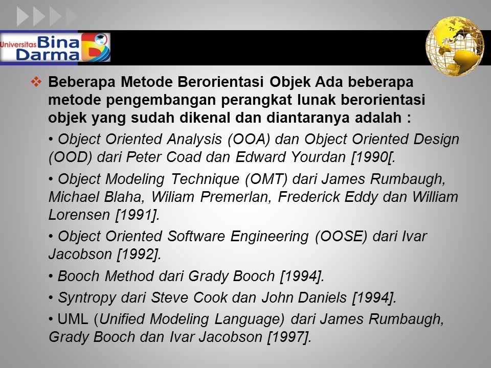 LOGO  Beberapa Metode Berorientasi Objek Ada beberapa metode pengembangan perangkat lunak berorientasi objek yang sudah dikenal dan diantaranya adalah : Object Oriented Analysis (OOA) dan Object Oriented Design (OOD) dari Peter Coad dan Edward Yourdan [1990[.