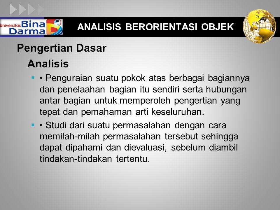 LOGO ANALISIS BERORIENTASI OBJEK Pengertian Dasar Analisis  Penguraian suatu pokok atas berbagai bagiannya dan penelaahan bagian itu sendiri serta hu