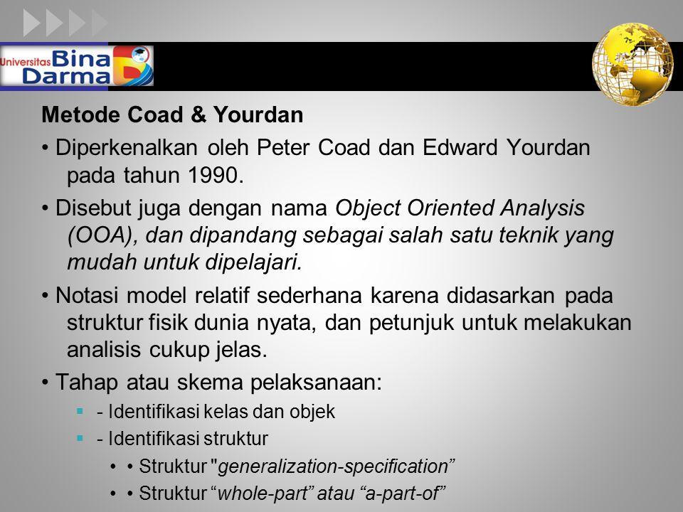 LOGO Metode Coad & Yourdan Diperkenalkan oleh Peter Coad dan Edward Yourdan pada tahun 1990. Disebut juga dengan nama Object Oriented Analysis (OOA),