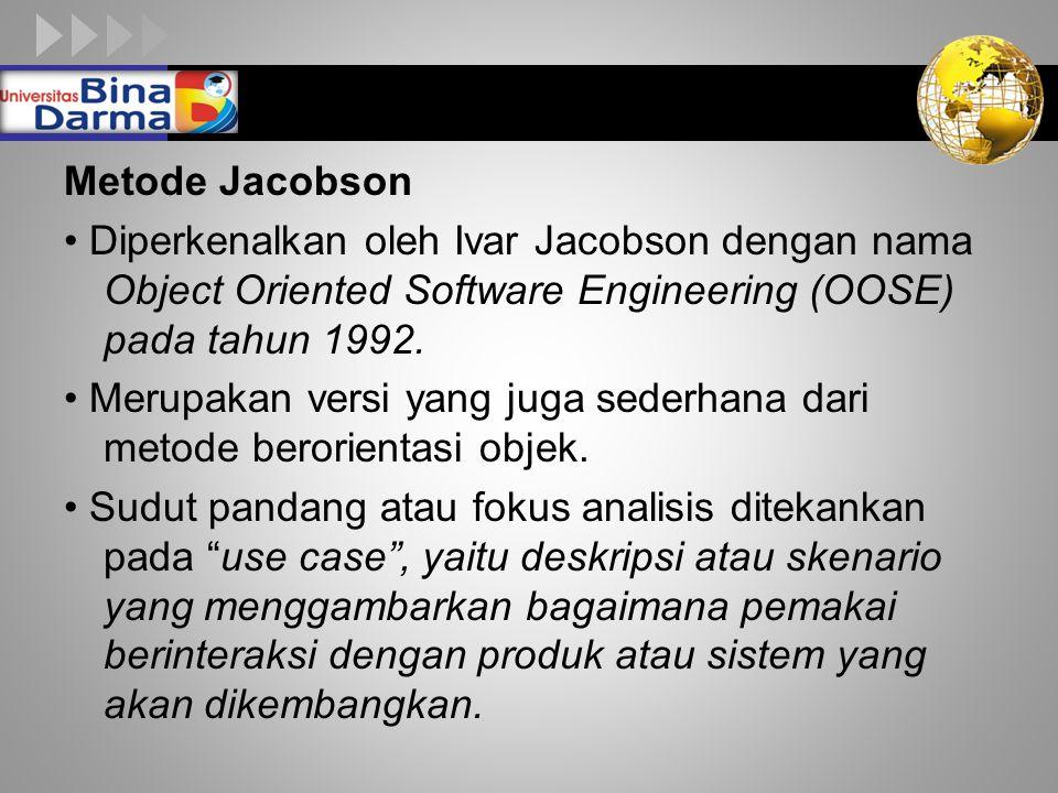 LOGO Metode Jacobson Diperkenalkan oleh Ivar Jacobson dengan nama Object Oriented Software Engineering (OOSE) pada tahun 1992. Merupakan versi yang ju