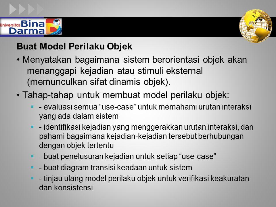 LOGO Buat Model Perilaku Objek Menyatakan bagaimana sistem berorientasi objek akan menanggapi kejadian atau stimuli eksternal (memunculkan sifat dinamis objek).