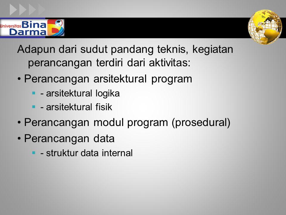 LOGO Adapun dari sudut pandang teknis, kegiatan perancangan terdiri dari aktivitas: Perancangan arsitektural program  - arsitektural logika  - arsitektural fisik Perancangan modul program (prosedural) Perancangan data  - struktur data internal