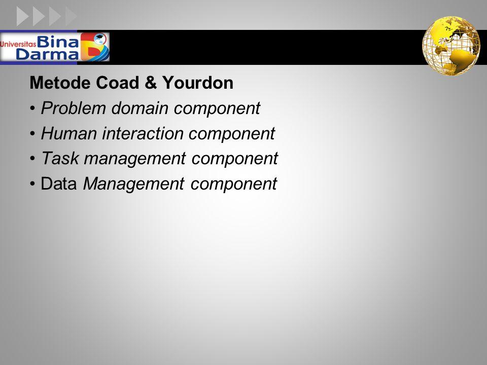 LOGO Metode Coad & Yourdon Problem domain component Human interaction component Task management component Data Management component