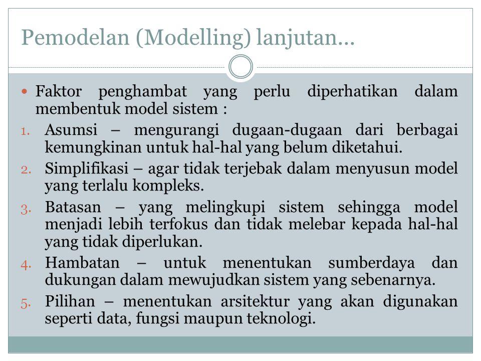 Pemodelan (Modelling) lanjutan... Faktor penghambat yang perlu diperhatikan dalam membentuk model sistem : 1. Asumsi – mengurangi dugaan-dugaan dari b