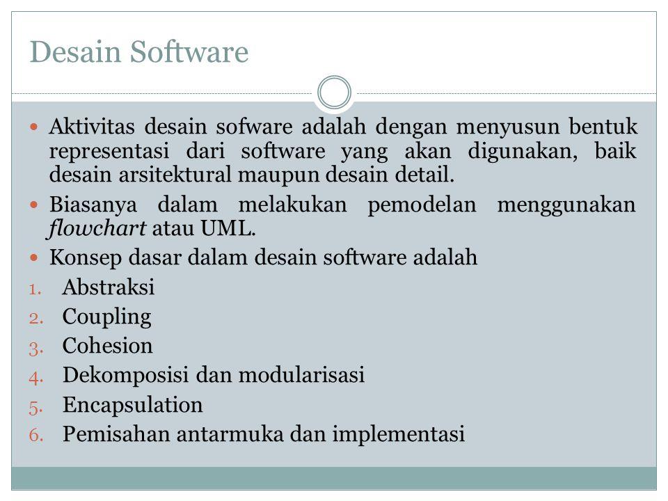 Desain Software Aktivitas desain sofware adalah dengan menyusun bentuk representasi dari software yang akan digunakan, baik desain arsitektural maupun