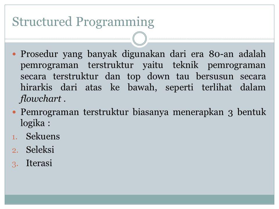 Structured Programming Prosedur yang banyak digunakan dari era 80-an adalah pemrograman terstruktur yaitu teknik pemrograman secara terstruktur dan to